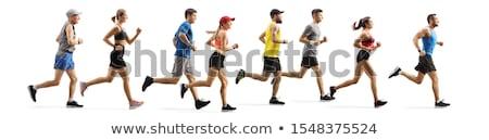 Male athlete running on white background Stock photo © wavebreak_media