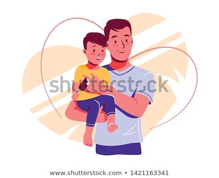 Vader zoon kijken afstand liefde jongen buitenshuis Stockfoto © IS2