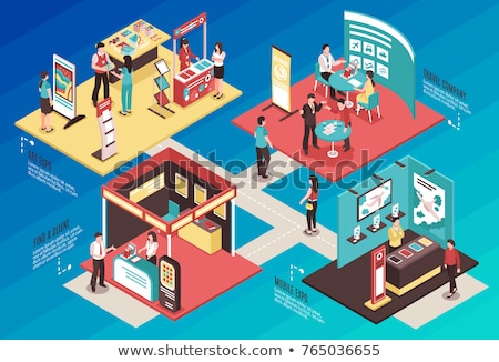 promotion stand at exhibition isometric element stock photo © studioworkstock