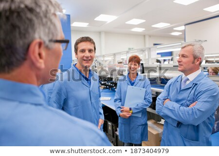 Bespreken vlees fabriek business gelukkig Stockfoto © wavebreak_media