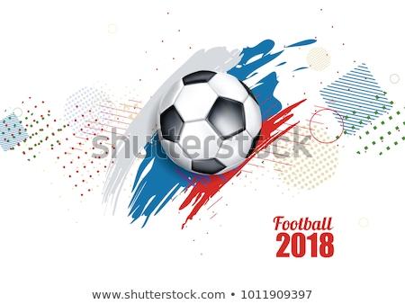 русский флаг футбольным мячом иллюстратор дизайна графических Сток-фото © alexmillos