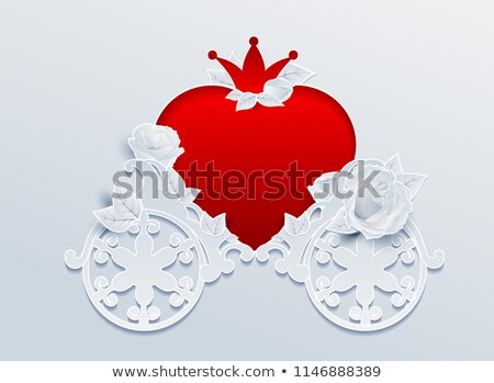 Greeting card wedding carriage shaped heart and rose flowers Stock photo © orensila