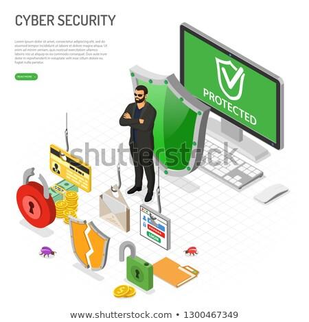hacker · phishing · etkinlik · izometrik · parola - stok fotoğraf © -talex-