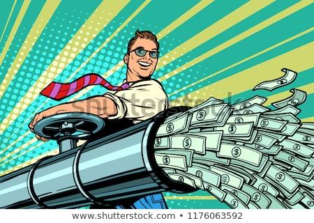 Stock photo: Businessman opens pipe, money Finance dollars flow