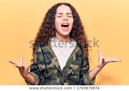 woedend · leger · meisje · jonge · mooie · militaire - stockfoto © MilanMarkovic78