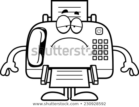 Sad Cartoon Fax Machine Stock photo © cthoman