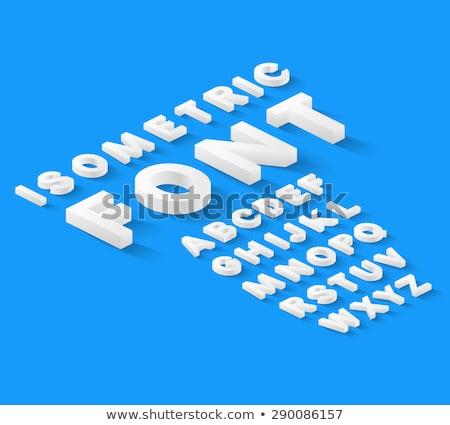 синий изометрический шрифт изолированный белый письма Сток-фото © Evgeny89