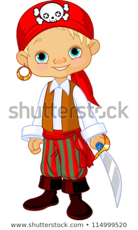 Smiling little boy dressed as pirate Stock photo © acidgrey