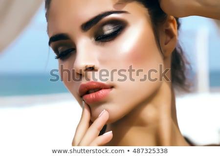 yatak · güzel · sarışın · kadın · elma - stok fotoğraf © stryjek