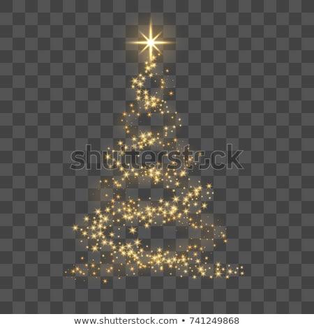 Altın noel ağacı soyut yeşil ışık dekorasyon Stok fotoğraf © odina222