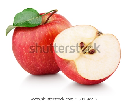 Stok fotoğraf: Fresh Red Ripe Apples Fruits Whole And Sliced