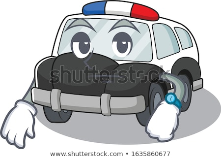 Karikatür sıkılmış polis memuru bakıyor Stok fotoğraf © cthoman