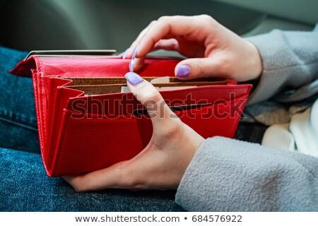 Stock fotó: üres · piros · pénztárca · női · kezek · izolált