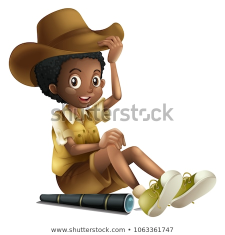 african american boy in safari outfit with telescope stock photo © colematt