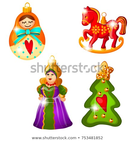 Sketch with Christmas tree decoration in Russian folk style isolated on white background. Colorful f stock photo © Lady-Luck