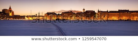 Katedrális Helsinki Balti-tenger komp naplemente természet Stock fotó © benkrut