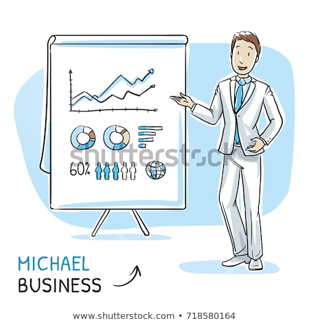 Presenter with Whiteboard Showing Charts Vector Stock photo © robuart