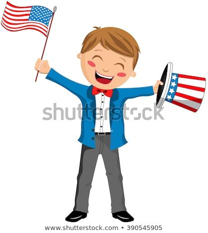 Glimlachend cartoon vaderlandslievend jongen gelukkig kostuum Stockfoto © cthoman
