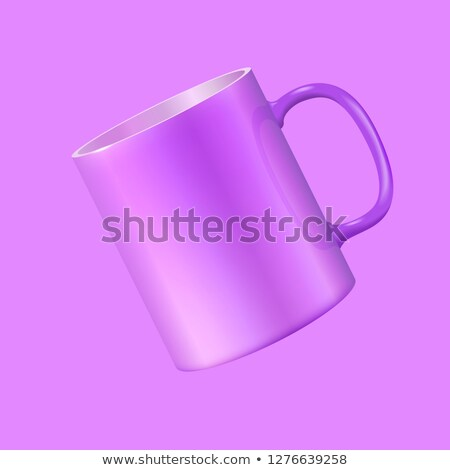 Tea mug hovers in the air. Ultra violet color 2018. Realistic vector 3d illustration Stock photo © ESSL