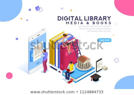 E-library isometric 3D concept illustration. Stock photo © RAStudio