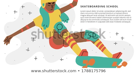 Color vintage skate shop banner Stock photo © netkov1