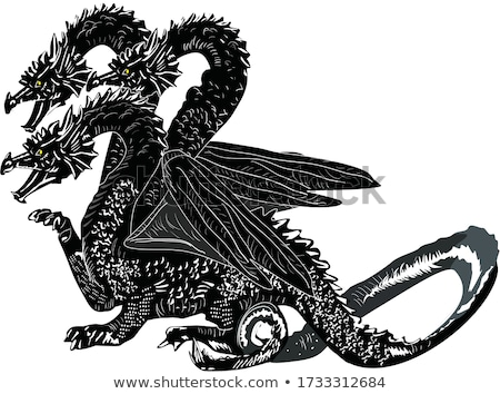 animal outline for three headed dragon stock photo © colematt