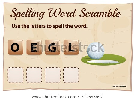 mSpelling word scramble game template with hole Stock photo © colematt