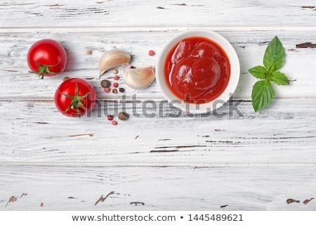 Pomodoro ketchup salsa legno bianco alimentare Foto d'archivio © furmanphoto