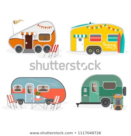 camping · família · caravana · ícone · botão - foto stock © angelp