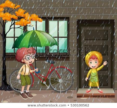 Piovosa stagione due ragazzi pioggia illustrazione Foto d'archivio © colematt