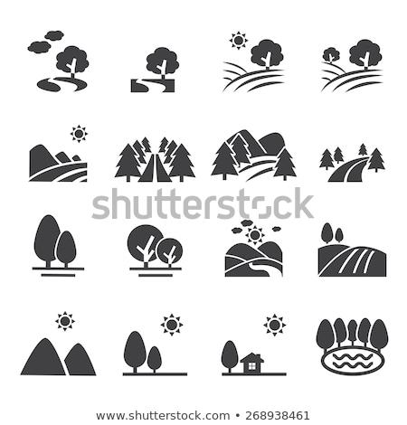 Foto stock: Rio · paisagem · ícones · padrão · símbolos · ecologia