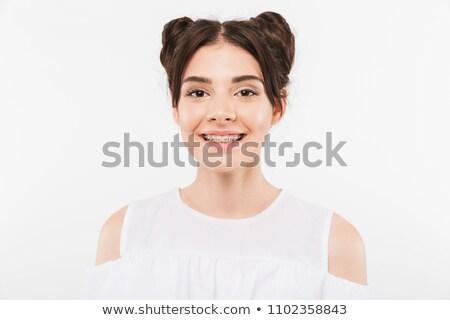 楽しい 若い女性 2 ヘアスタイル 歯科 ブレース ストックフォト © deandrobot