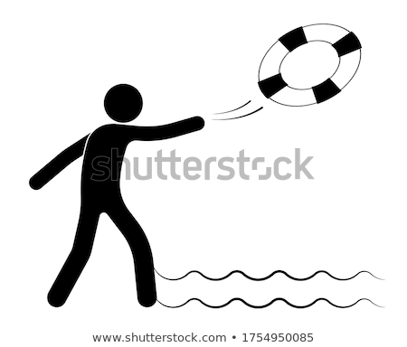 Stock fotó: vector of man relaxing on life ring