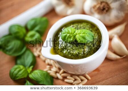 Tazón pesto ingredientes blanco hoja Foto stock © Alex9500