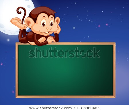 猿 黒板 フレーム 夜空 実例 空 ストックフォト © colematt
