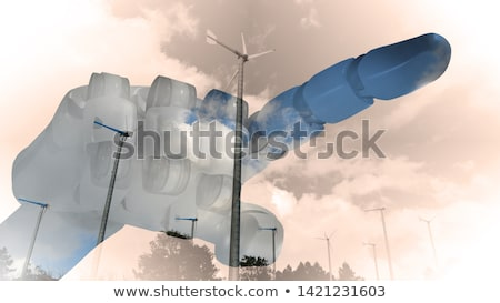 Robot Hand Wind Turbine Wind Farm Stock photo © limbi007