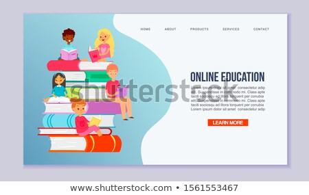 Vissza az iskolába vektor web design leszállás oldal bannerek Stock fotó © ikopylov