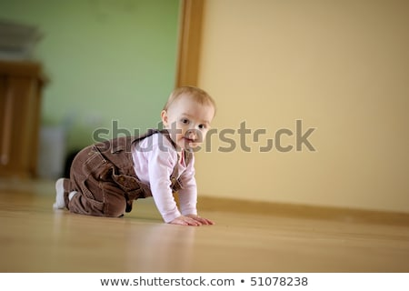 lovely baby girl crawling on floor at home Stock photo © dolgachov
