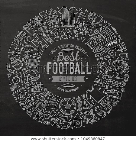 Set of cartoon doodle Football objects collected in a circle Stock photo © balabolka