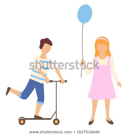 kinderen · permanente · ballon · illustratie · gelukkig · school - stockfoto © robuart