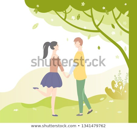 People in Love Under Tree. Vector Dating Teenagers Stock photo © robuart