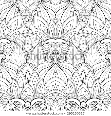 Monochrome Floral Illustration in Doodle Style Stock photo © lissantee