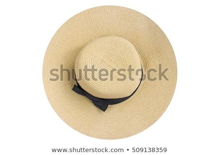 Nő fekete ruha kalap izolált fehér divat Stock fotó © Elnur