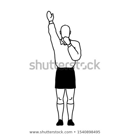 Rugby arbitre pénalité signal dessin rétro Photo stock © patrimonio
