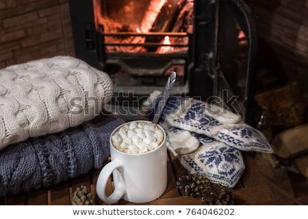 fincan · kahve · sıcak · çikolata · hatmi · örgü · battaniye - stok fotoğraf © illia