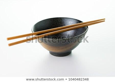 Boş çanak Çin yemek çubukları çift beyaz mutfak Stok fotoğraf © magraphics