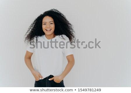 Erschossen gut aussehend lächelnde Frau funny Witz Stock foto © vkstudio