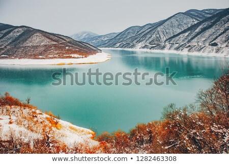 Reservoir Georgië landschap bergen water schoonheid Stockfoto © borisb17