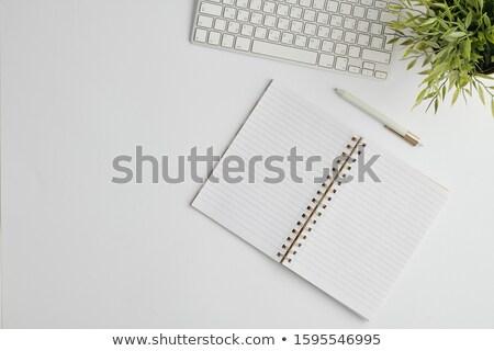 Disposición pluma ordenador abierto cuaderno Foto stock © pressmaster