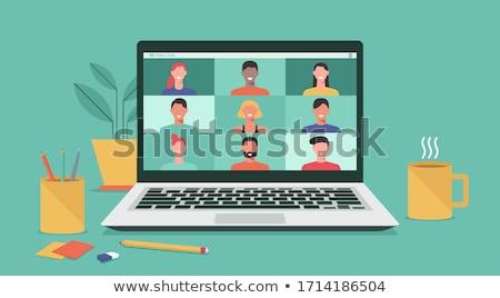 Afstand leren online onderwijs werkplek home Stockfoto © ikopylov